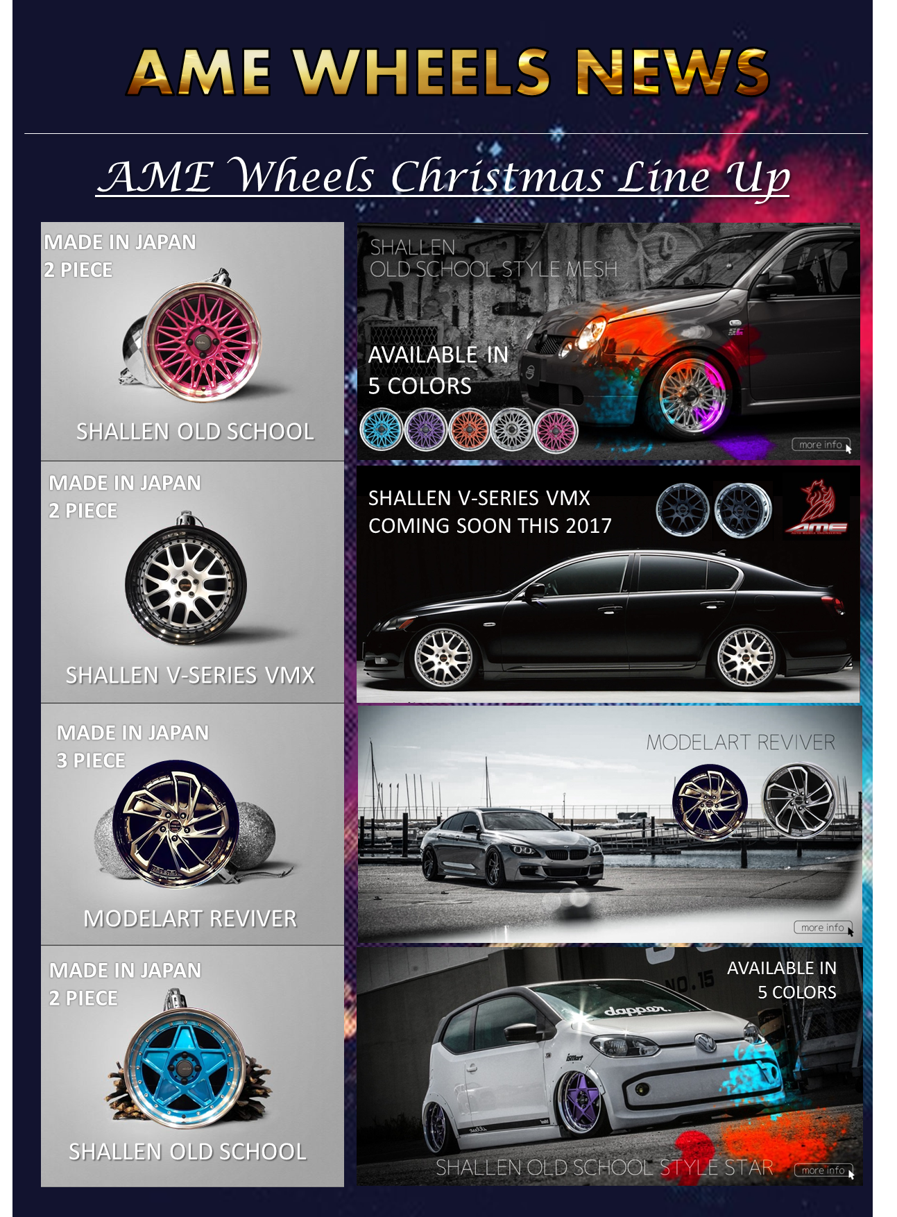 AME WHEELS CHRISTMAS  LINE UP -